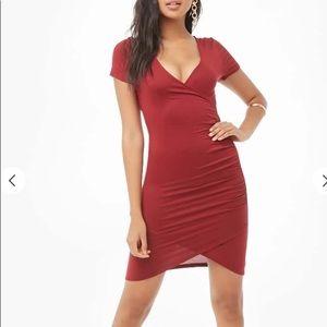 Forever 21 Burgundy Surplice Mini Dress NWOT SizeM